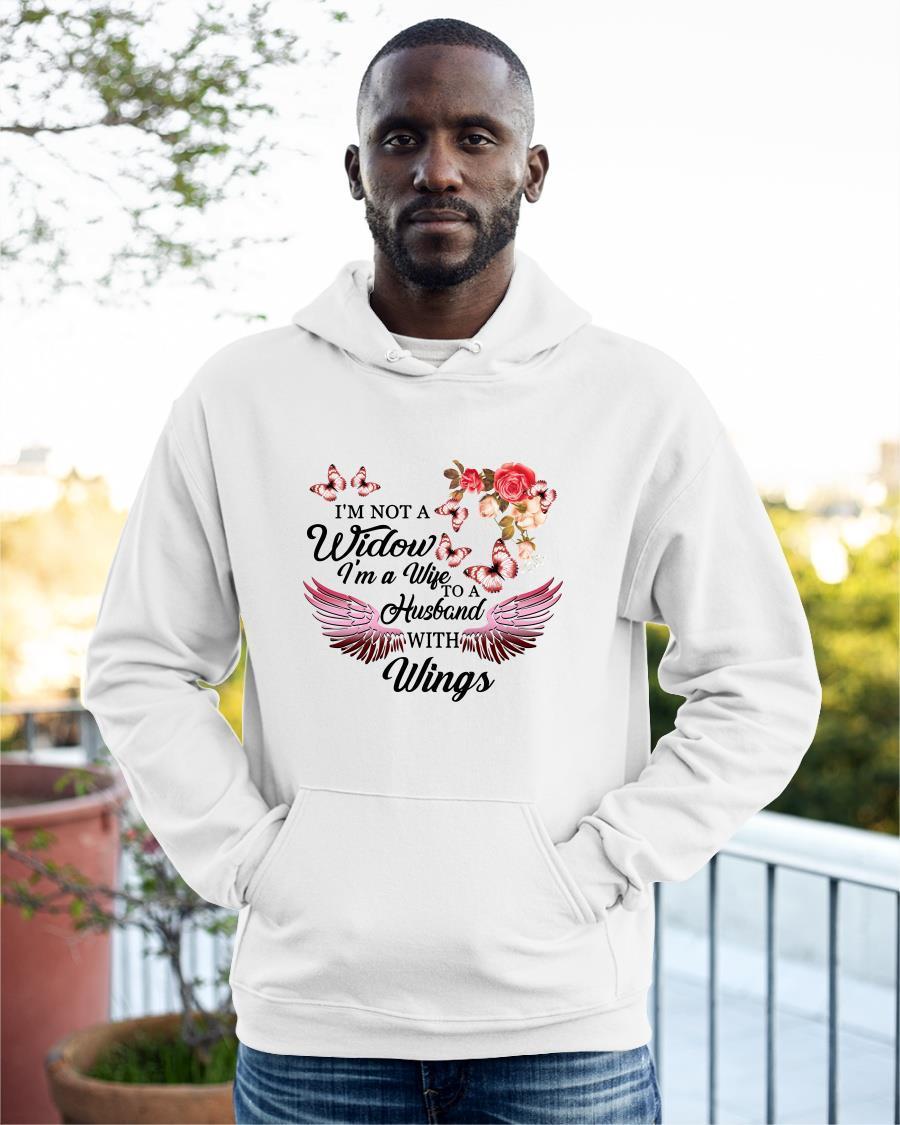 I'm Not A Widow I'm A Wife To A Husband With Wings Flowers Hoodie