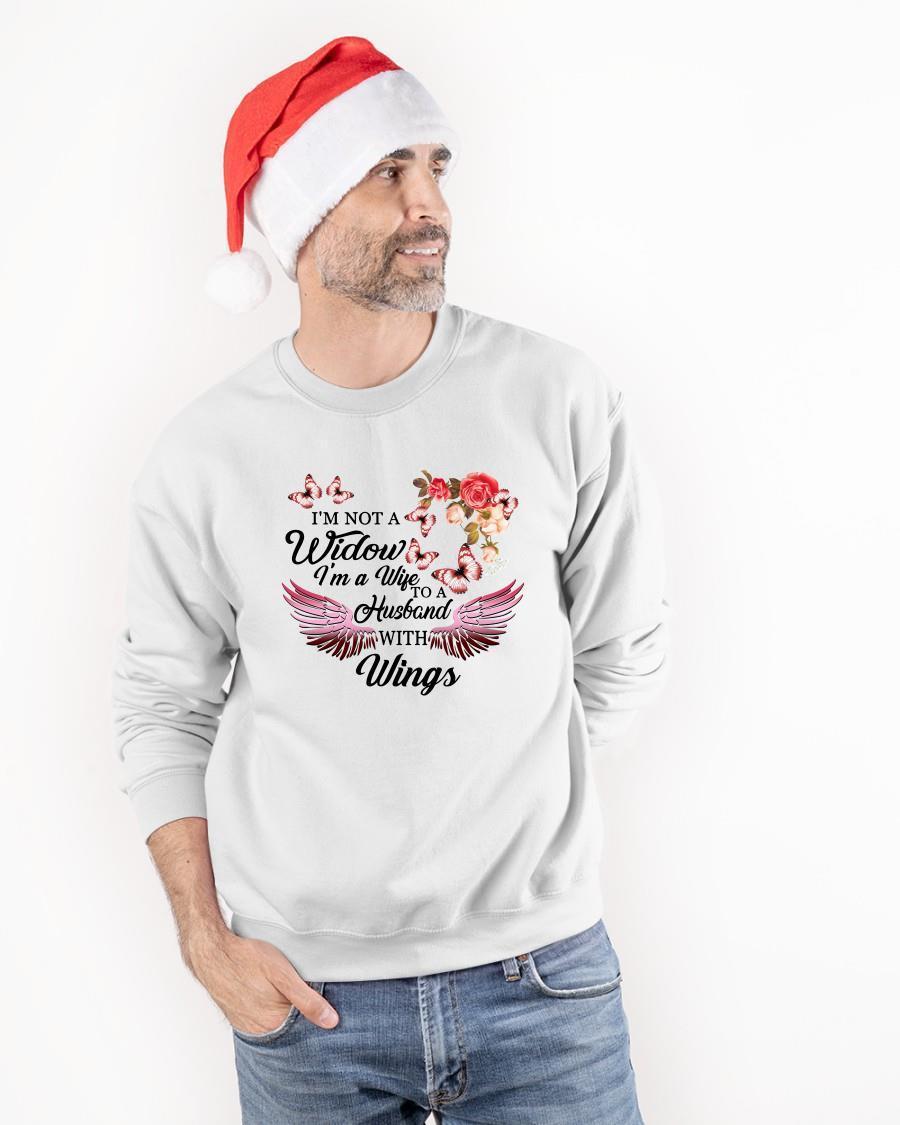 I'm Not A Widow I'm A Wife To A Husband With Wings Flowers Sweater
