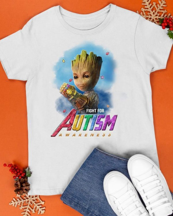 Infinity Gauntlet Baby Groot Fight For Autism Awareness Shirt