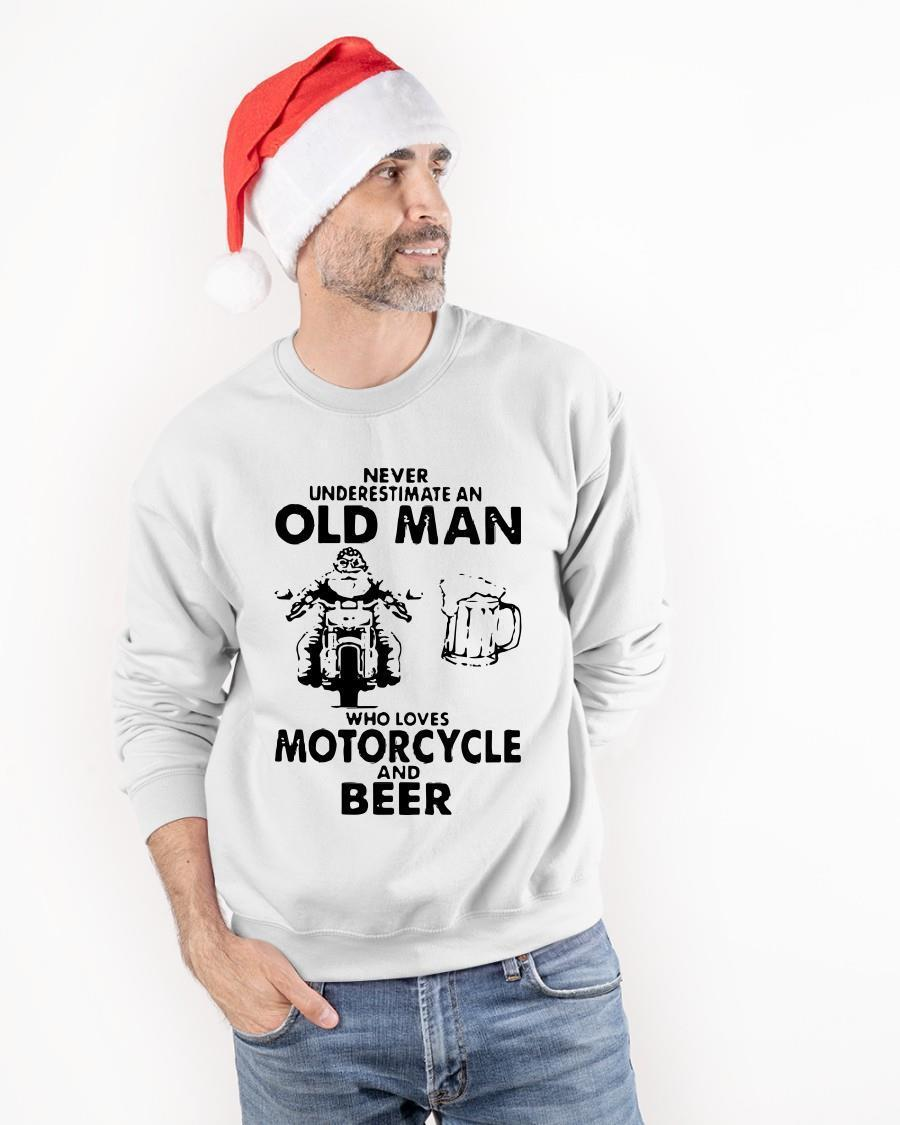 Never Underestimate An Old Man Who Loves Motorcycle And Beer Sweater