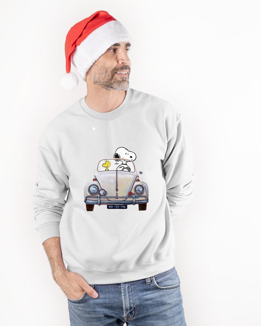 Snoopy And Woodstock Driving Volkswagen Beetle Sweater
