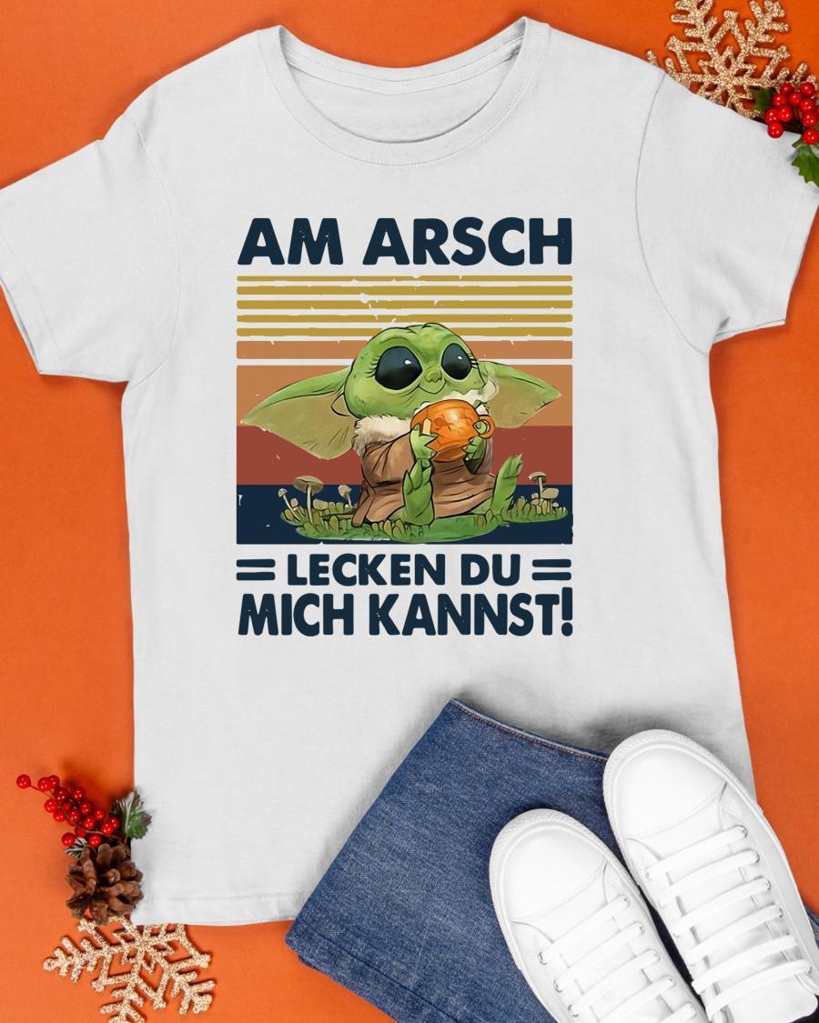 Vintage Baby Yoda Am Arsch Lecken Du Mich Kannst Shirt