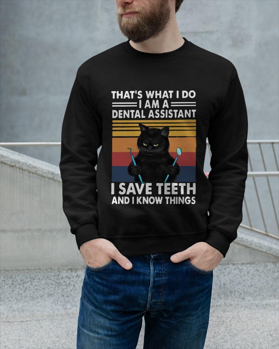Vintage Cat That's What I Do I Am A Dental Hygienist I Save Teeth Longsleeve