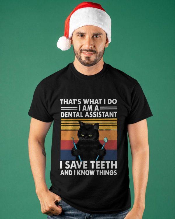 Vintage Cat That's What I Do I Am A Dental Hygienist I Save Teeth Shirt