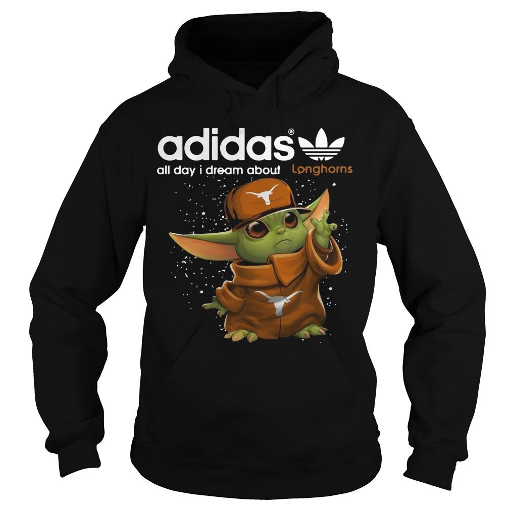 Baby Yoda Adidas All Day I Dream About Longhorns Hoodie