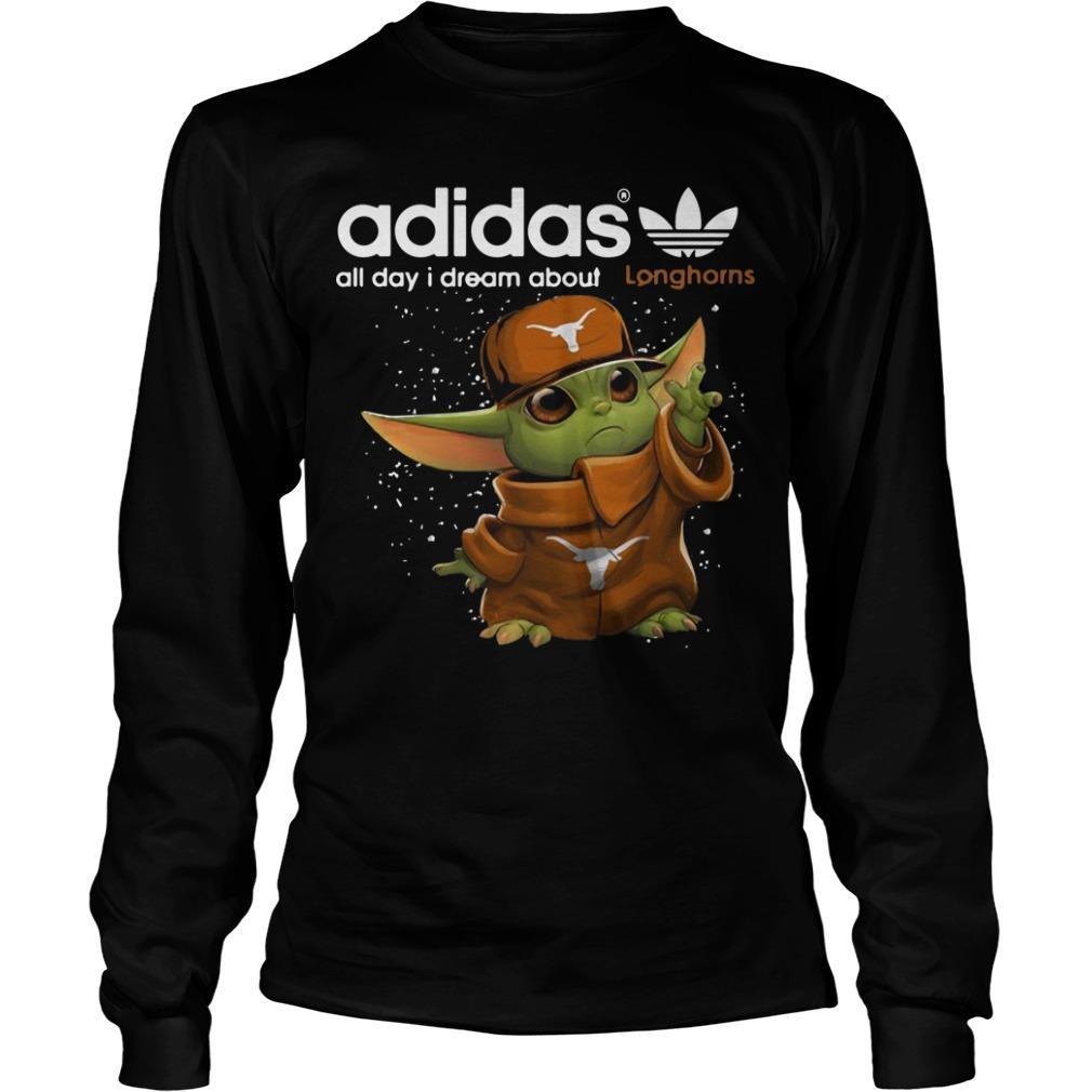 Baby Yoda Adidas All Day I Dream About Longhorns Longsleeve
