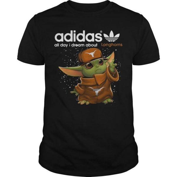 Baby Yoda Adidas All Day I Dream About Longhorns Shirt