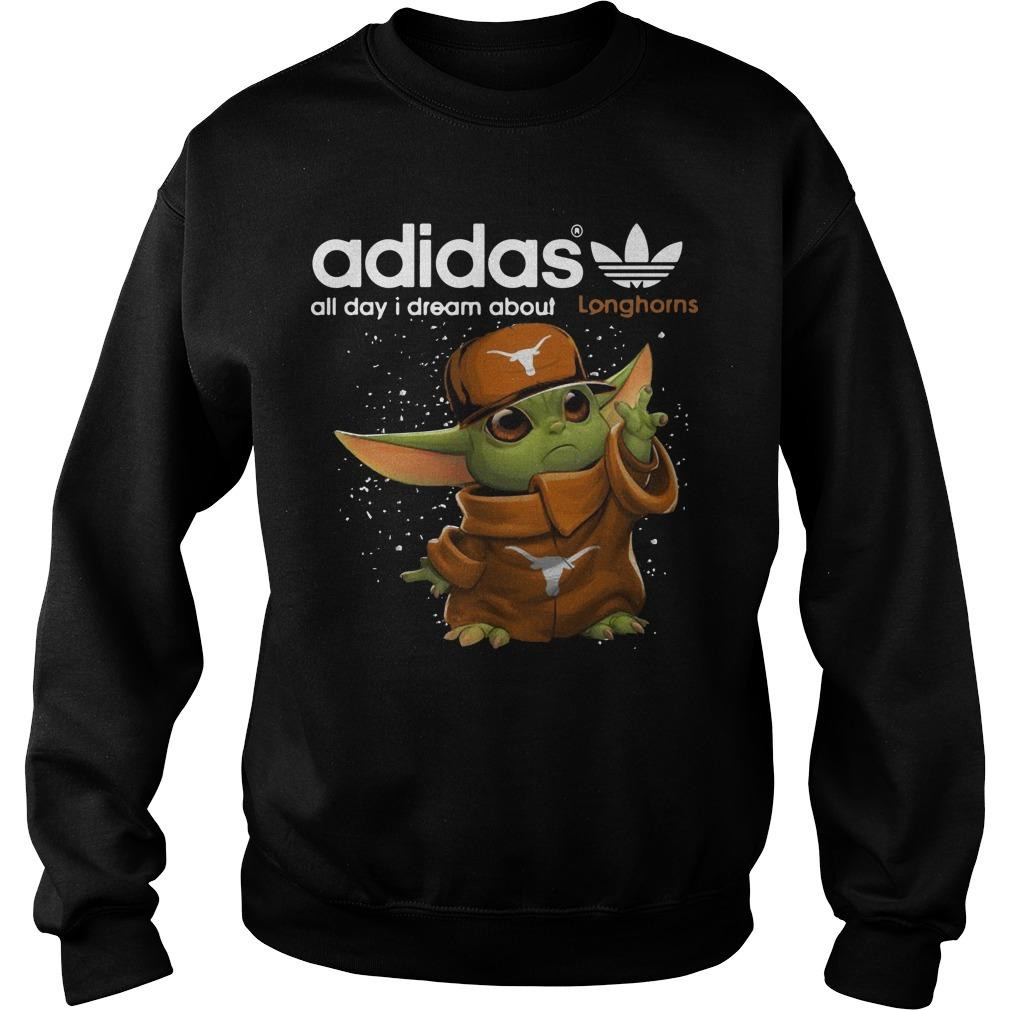 Baby Yoda Adidas All Day I Dream About Longhorns Sweater