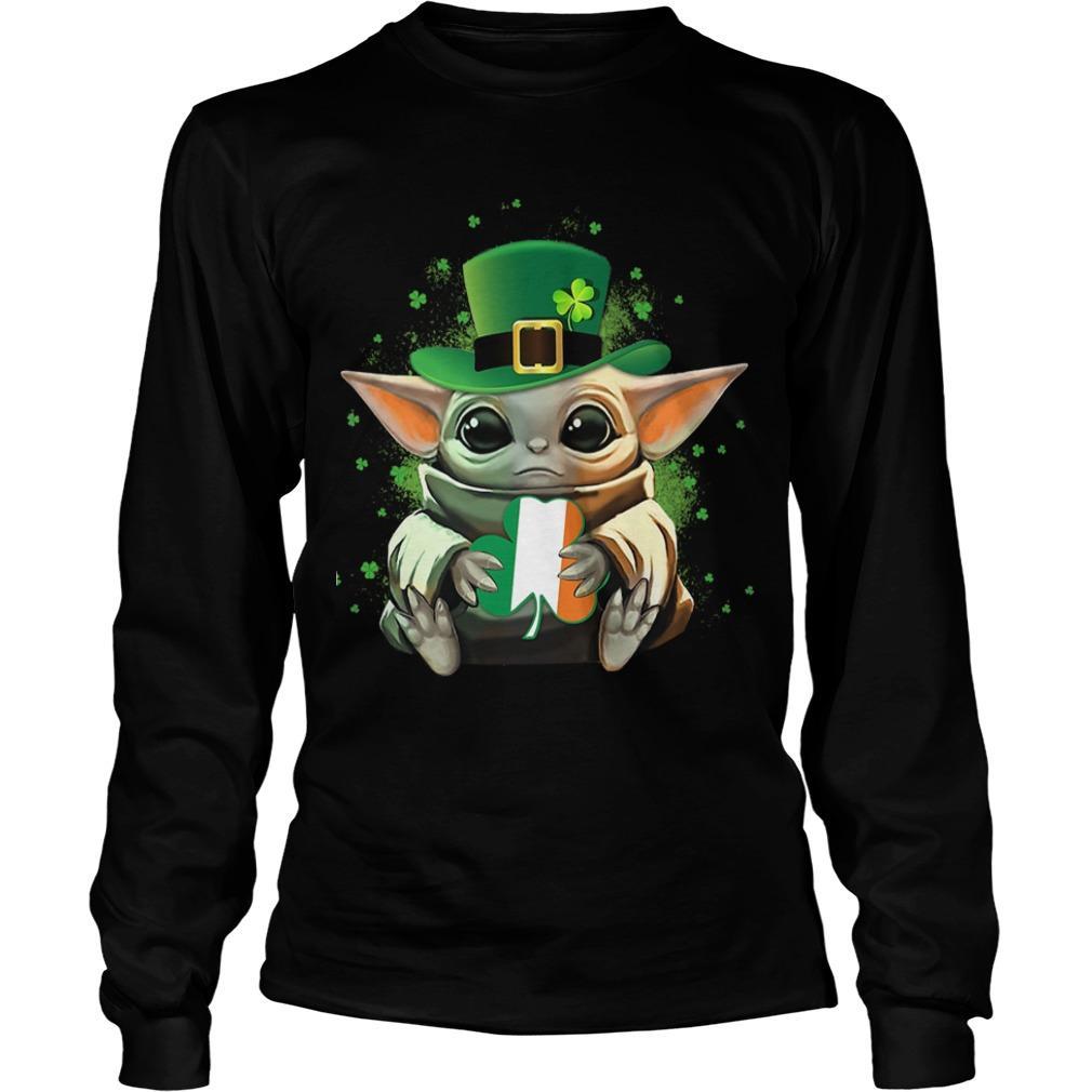Baby Yoda Hugging St Patrick's Day Longsleeve