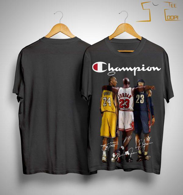 Angel Kobe Bryant Jordan Lebron James Signature Champion Shirt