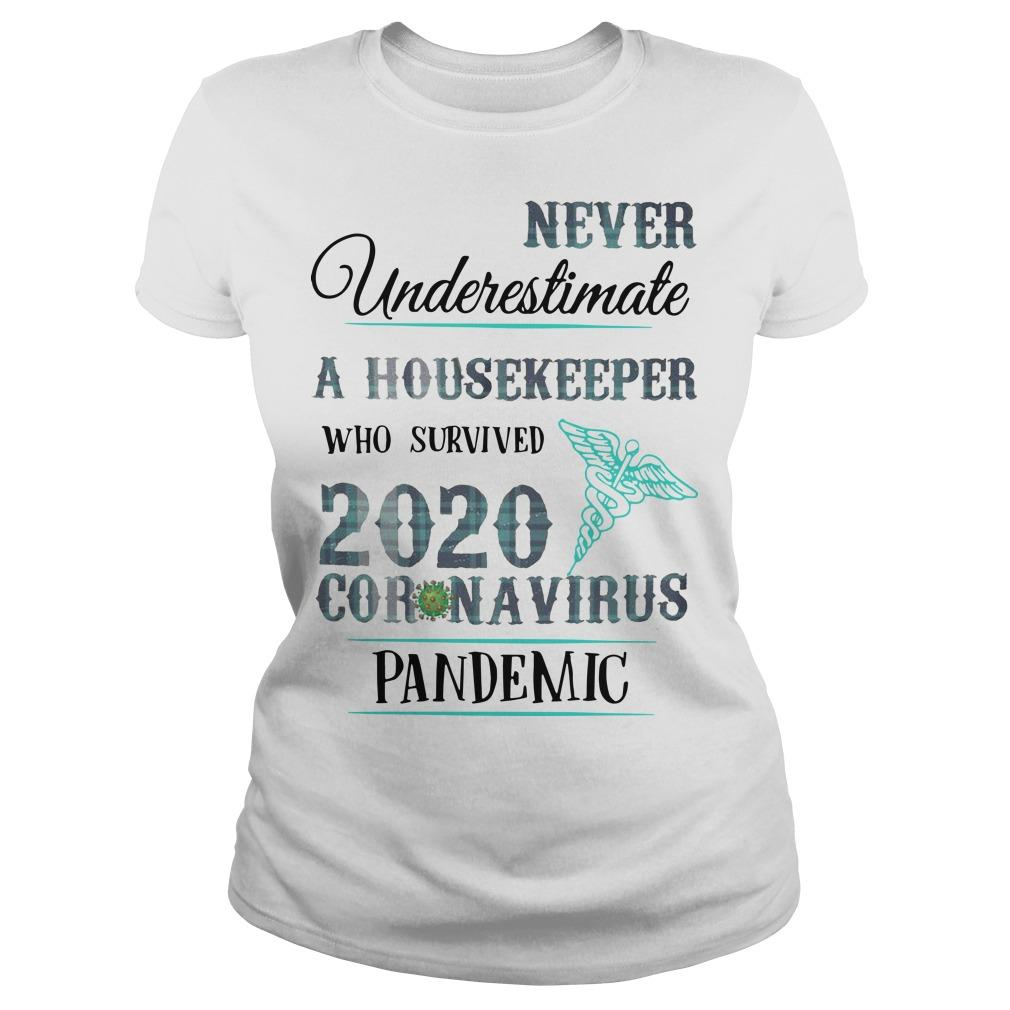 Never Underestimate A Housekeeper Who Survived 2020 Coronavirus Pandemic Longsleeve