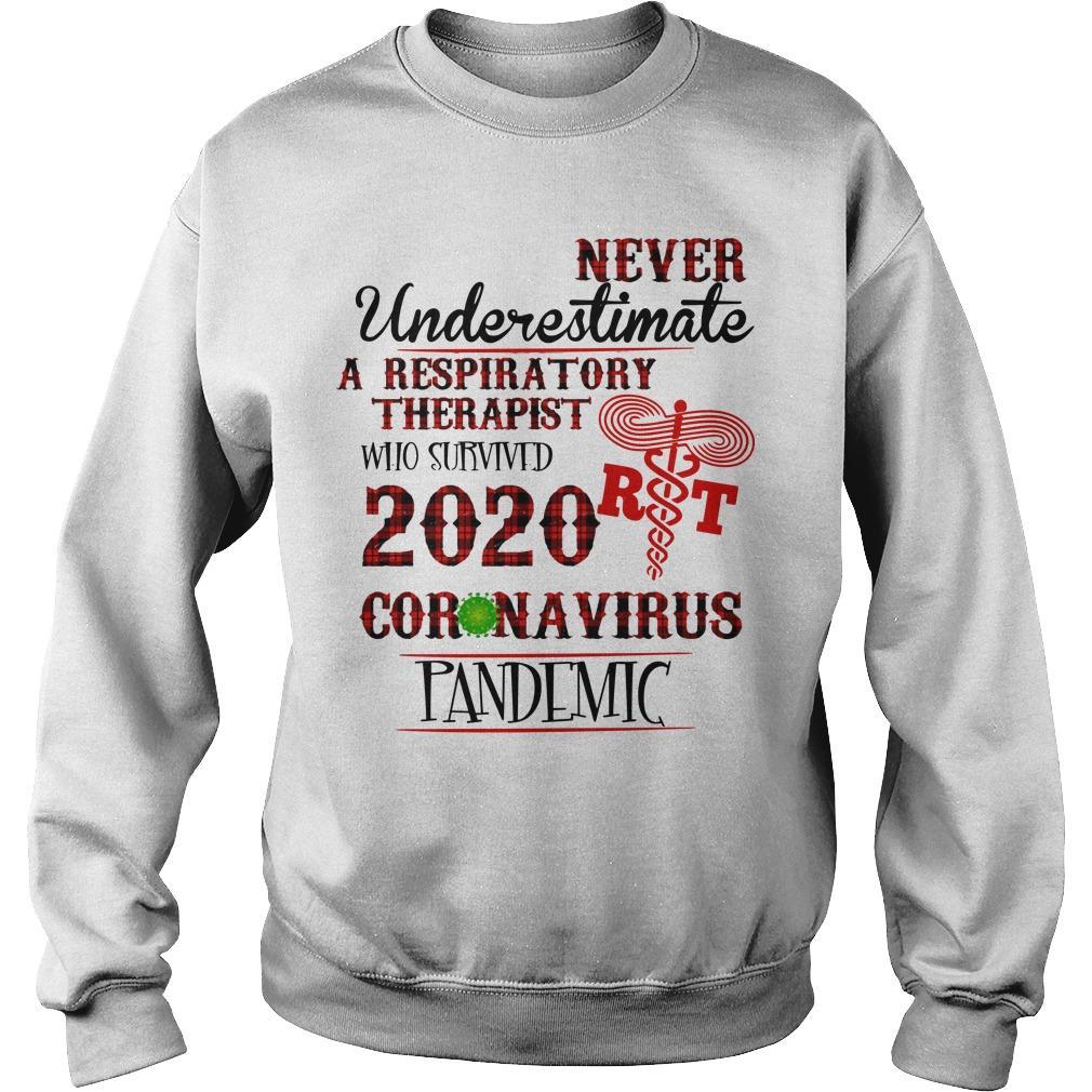 Never Underestimate A Respiratory Therapist Who Survived 2020 Coronavirus Pandemic Sweater