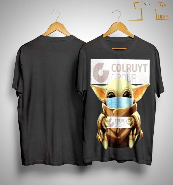 Baby Yoda Mask Hugging Colruyt Group Shirt