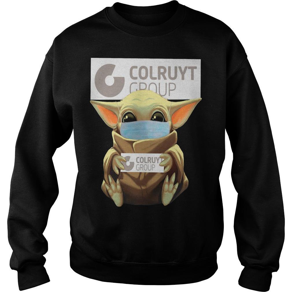 Baby Yoda Mask Hugging Colruyt Group Sweater