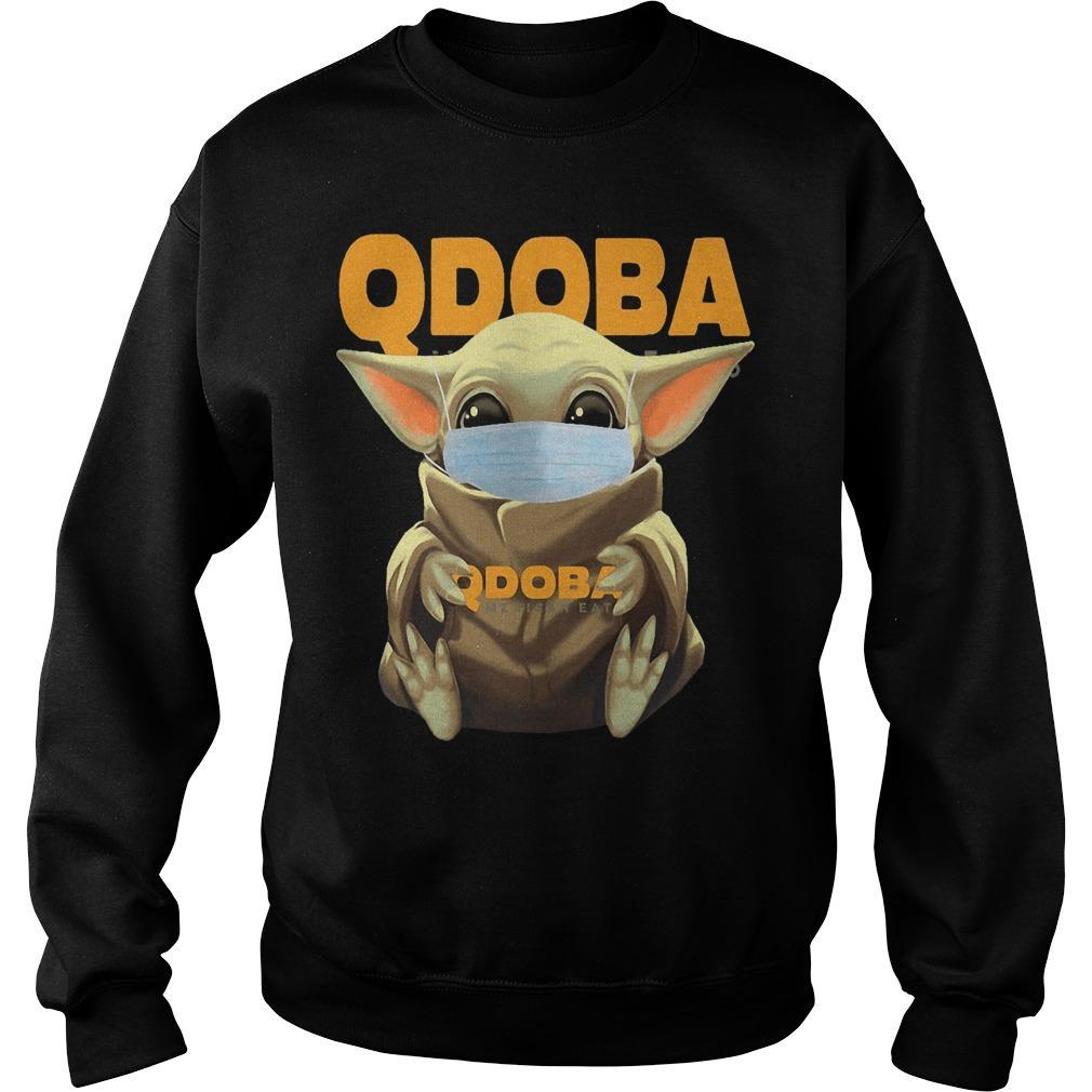 Baby Yoda Mask Hugging Qdoba Sweater