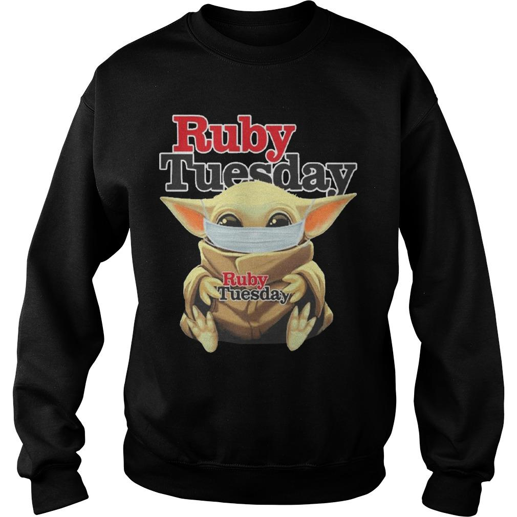 Baby Yoda Mask Hugging Ruby Tuesday Sweater