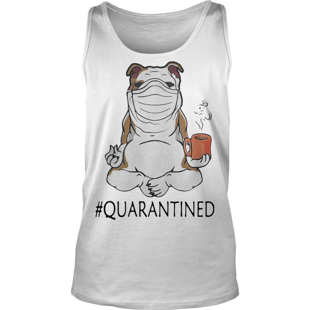 Bulldog Mask Yoga And Drinking Coffee Quarantined Tank Top