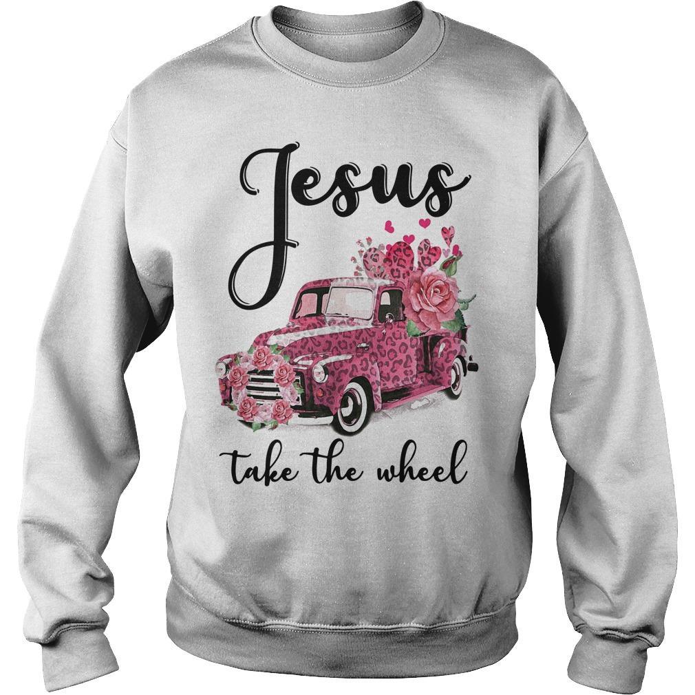 Pink Leopard Truck Jesus Take The Wheel Sweater