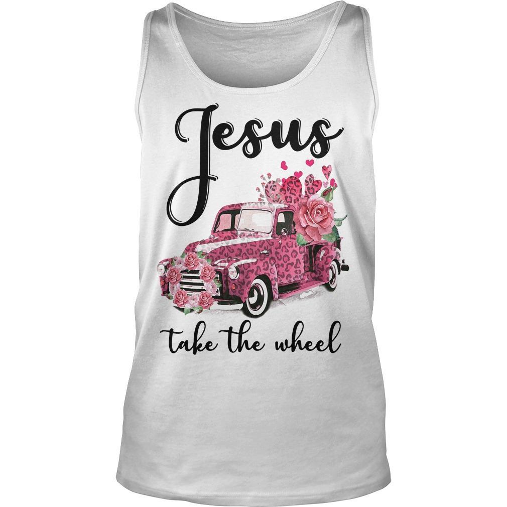 Pink Leopard Truck Jesus Take The Wheel Tank Top