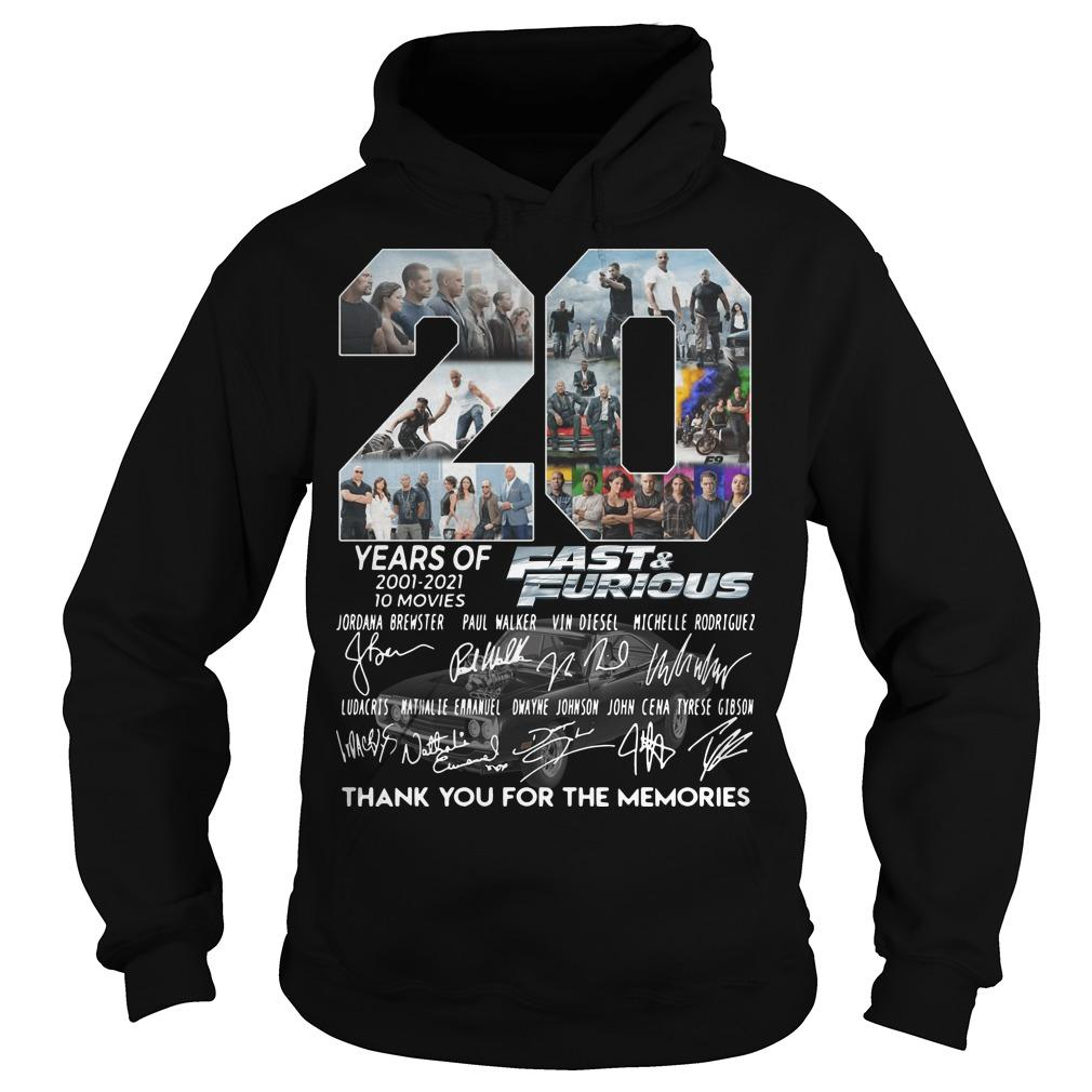 20 Years Of Fast And Furious Thank You For The Memories Hoodie