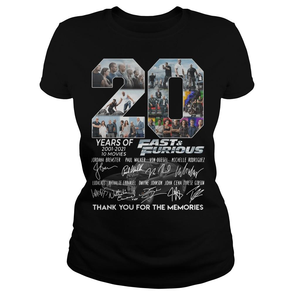 20 Years Of Fast And Furious Thank You For The Memories Longsleeve