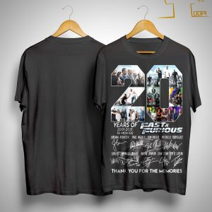 20 Years Of Fast And Furious Thank You For The Memories Shirt