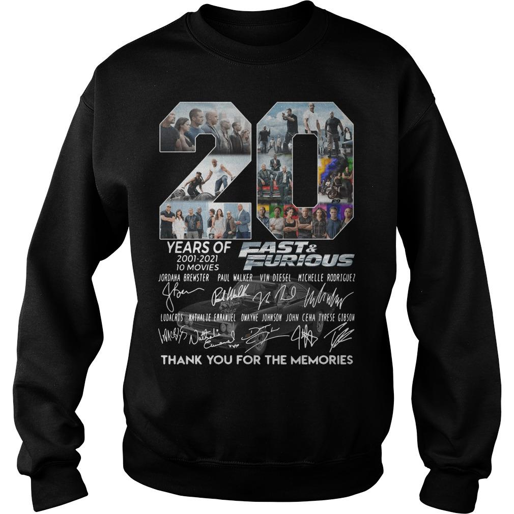 20 Years Of Fast And Furious Thank You For The Memories Sweater