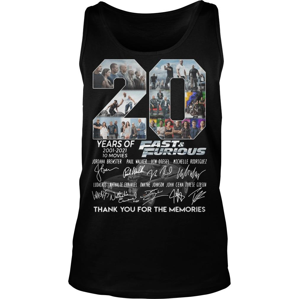 20 Years Of Fast And Furious Thank You For The Memories Tank Top