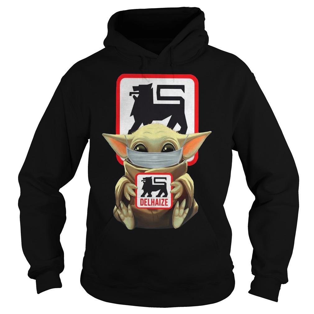 Baby Yoda Mask Hugging Delhaize Hoodie