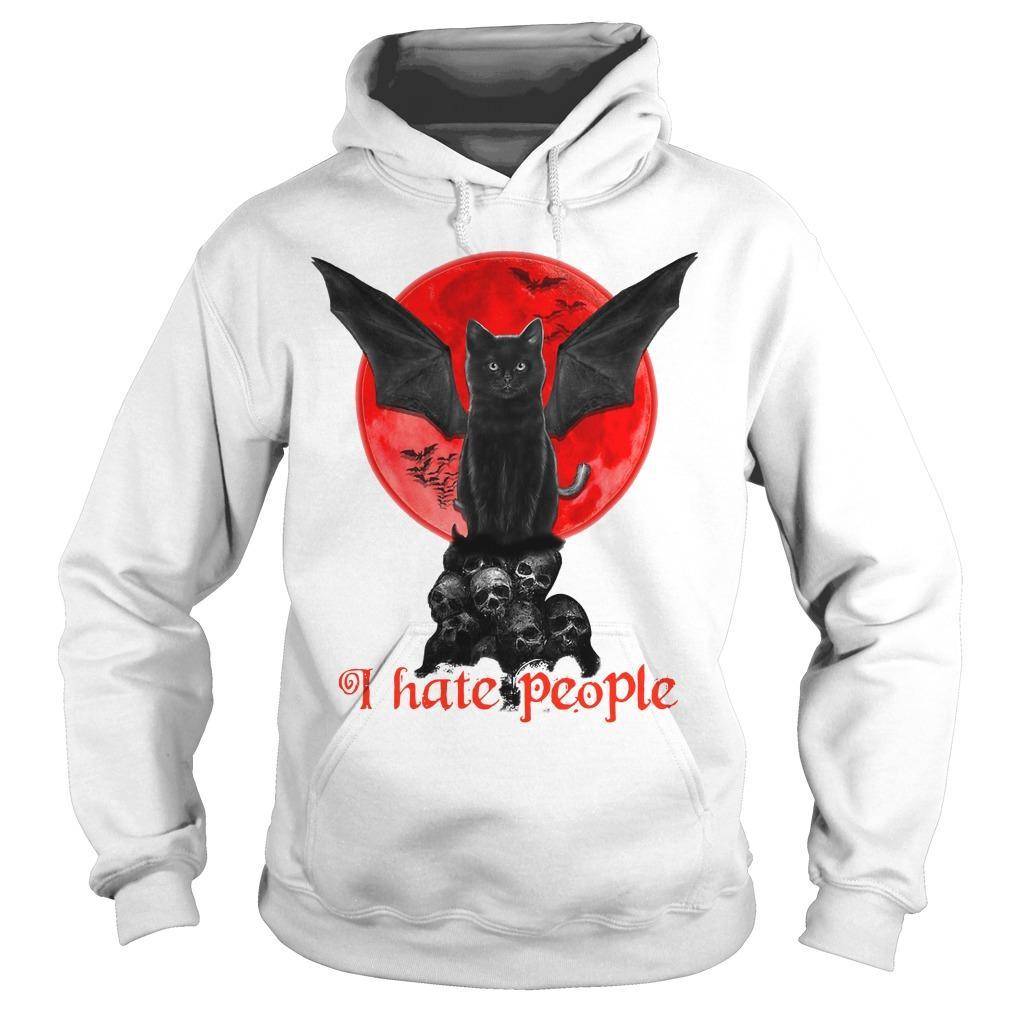 Black Bat Cat I Hate People Hoodie