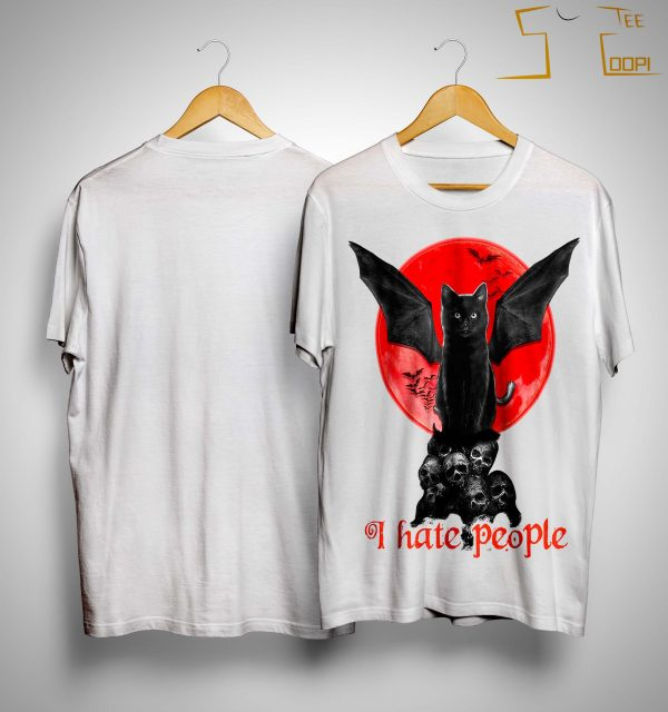 Black Bat Cat I Hate People Shirt