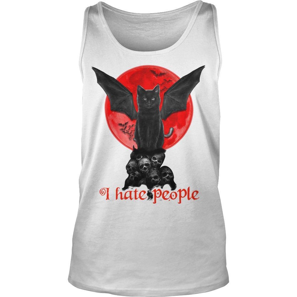 Black Bat Cat I Hate People Tank Top