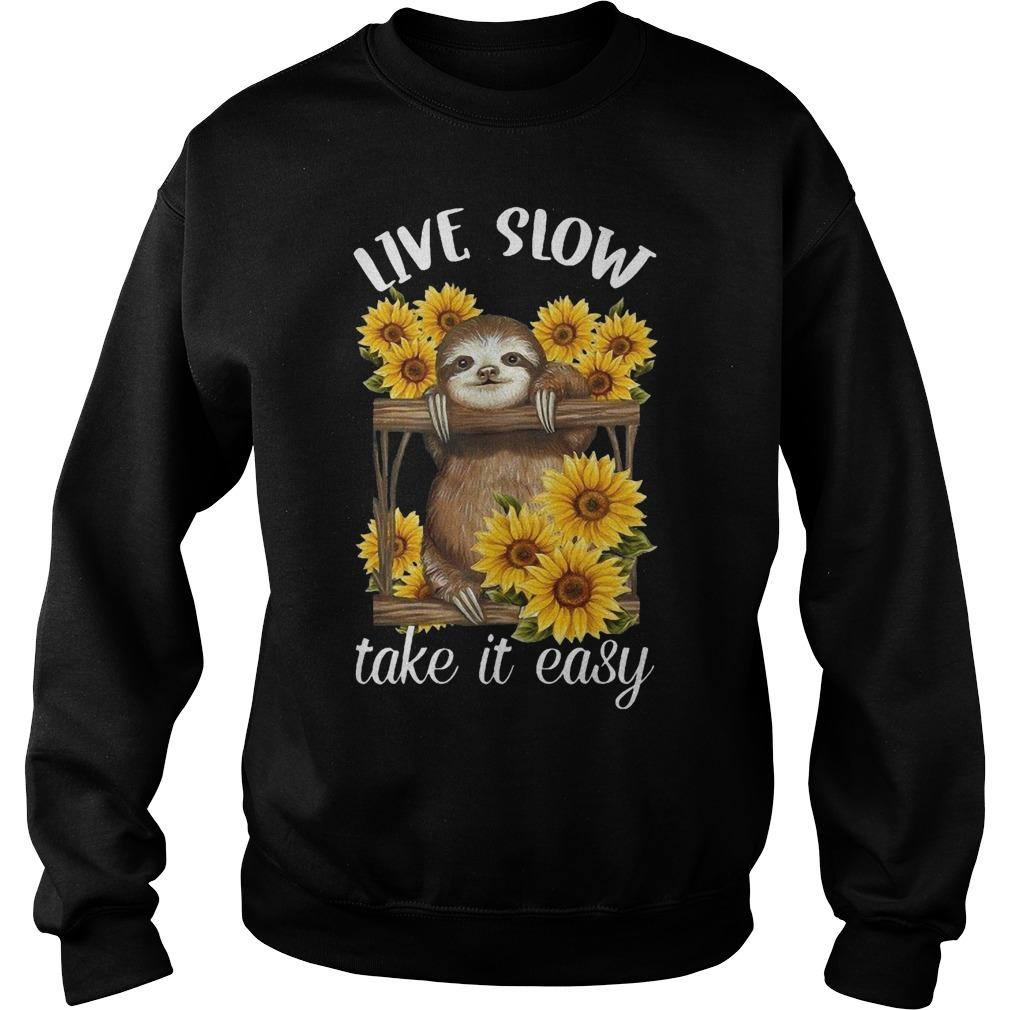 Sunflower Sloth Live Slow Take It Easy Sweater