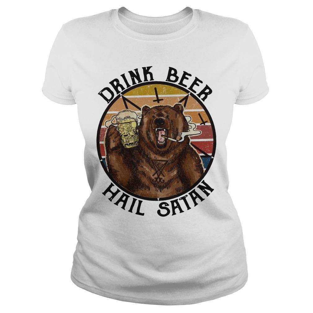 Vintage Bear Drink Beer Hail Satan Longsleeve