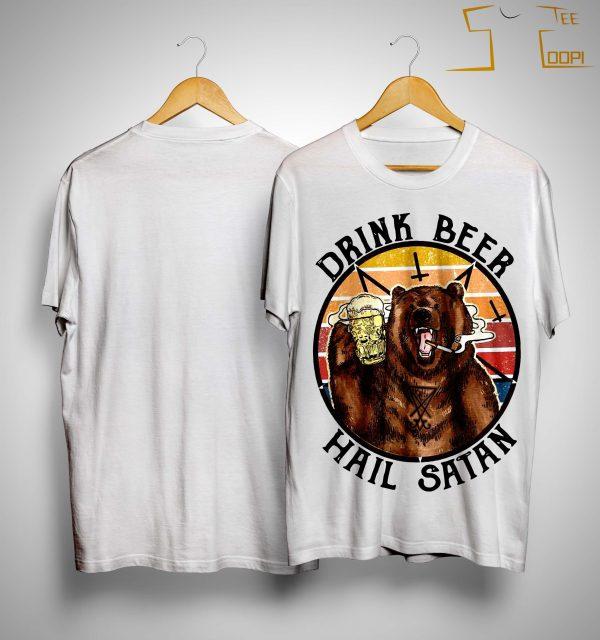 Vintage Bear Drink Beer Hail Satan Shirt