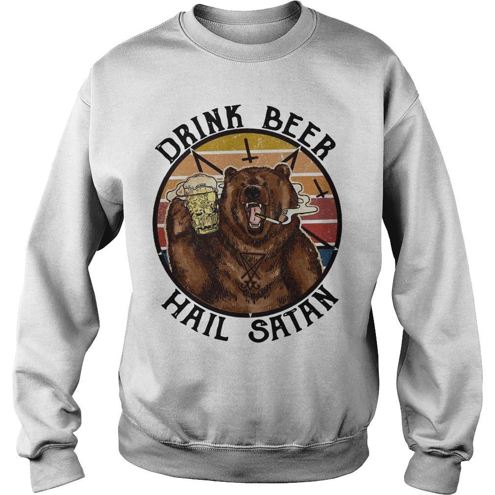 Vintage Bear Drink Beer Hail Satan Sweater