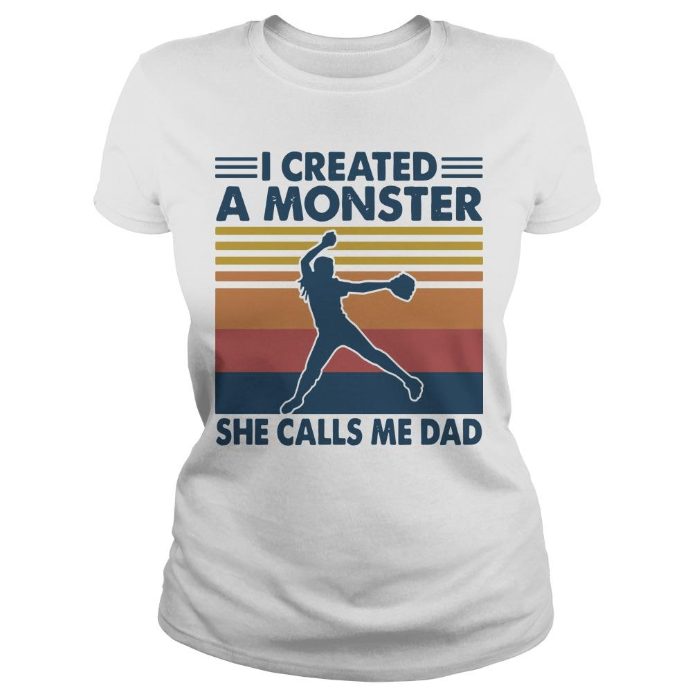 Vintage I Created A Monster She Calls Me Dad Longsleeve