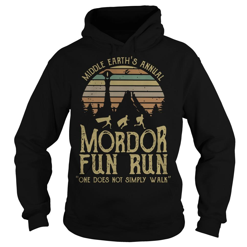 Vintage Middle Earth's Annual Mordor Fun Run One Does Not Simply Walk Hoodie