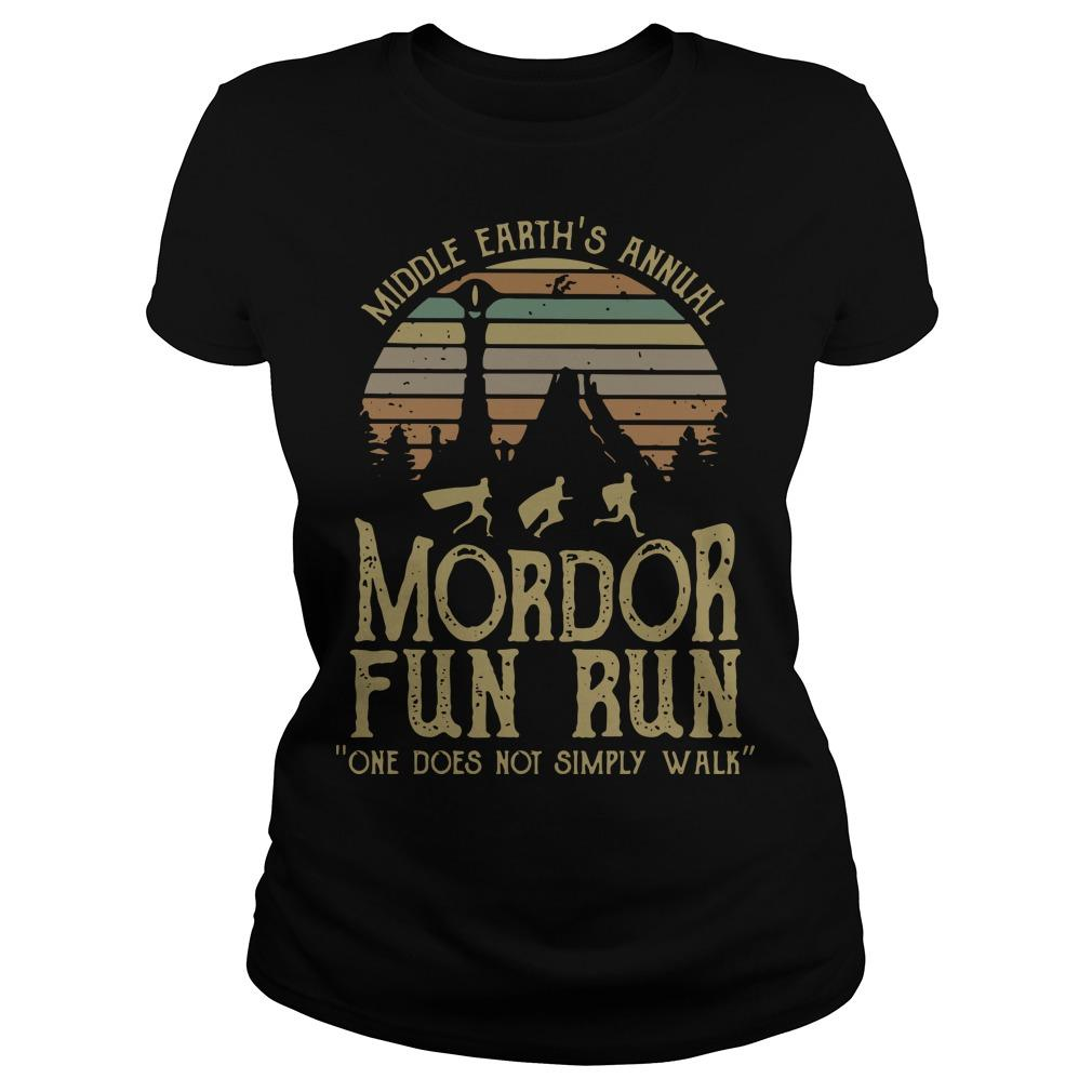 Vintage Middle Earth's Annual Mordor Fun Run One Does Not Simply Walk Longsleeve