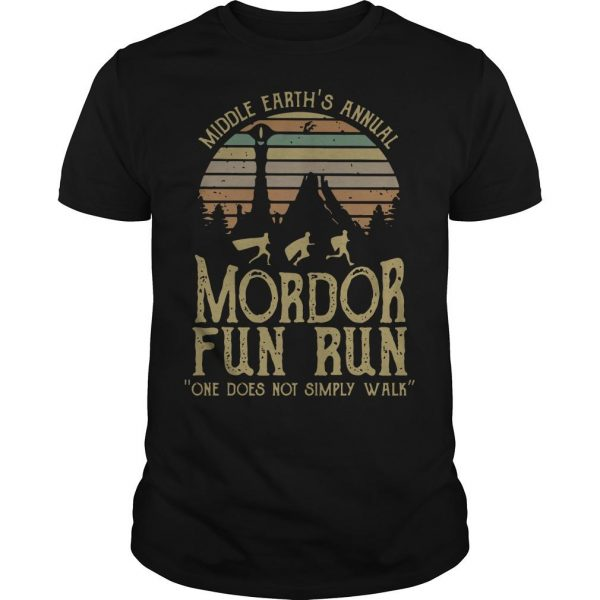 Vintage Middle Earth's Annual Mordor Fun Run One Does Not Simply Walk Shirt