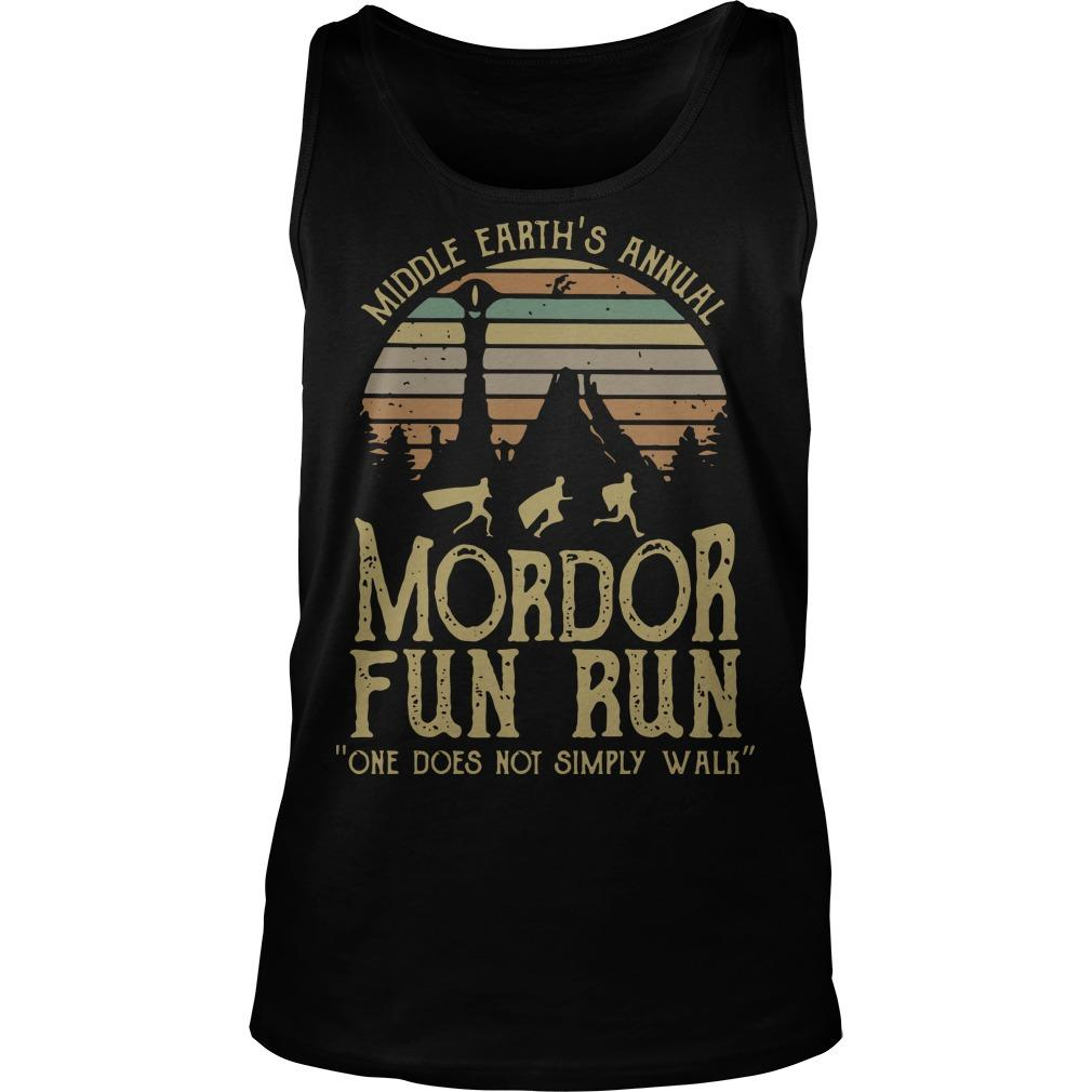 Vintage Middle Earth's Annual Mordor Fun Run One Does Not Simply Walk Tank Top