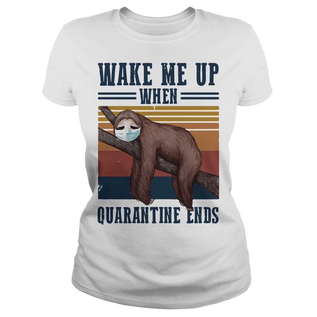 Vintage Sloth Wake Me Up When Quarantine Ends Longsleeve