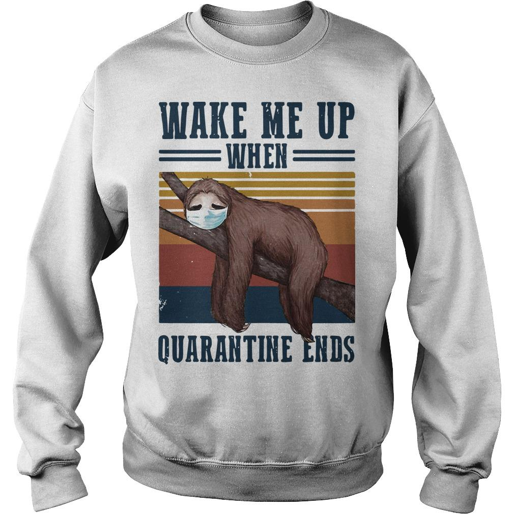Vintage Sloth Wake Me Up When Quarantine Ends Sweater