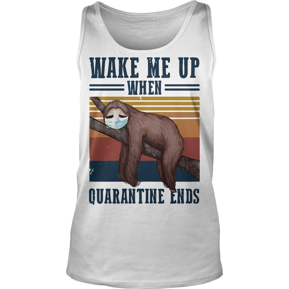 Vintage Sloth Wake Me Up When Quarantine Ends Tank Top
