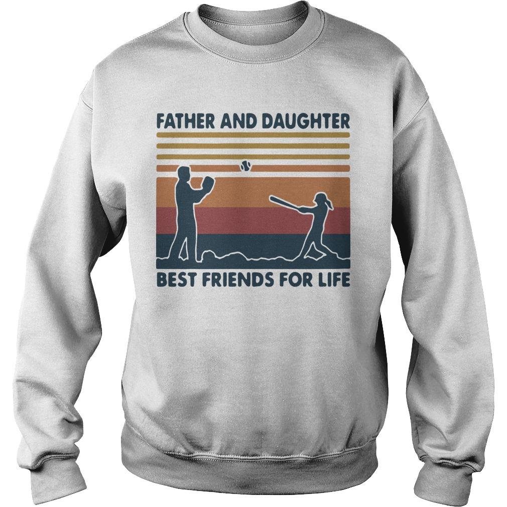 Vintage Softball Father And Daughter Best Friends For Life Sweater