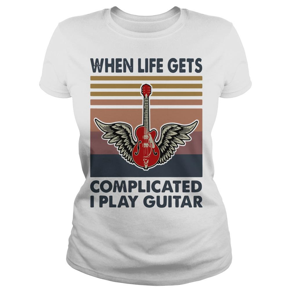 Vintage When Life Gets Complicated I Play Guitar Longsleeve