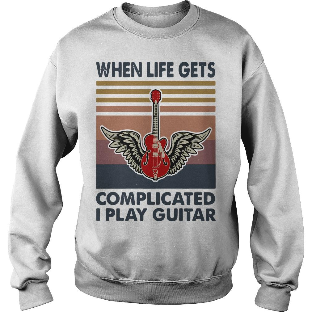 Vintage When Life Gets Complicated I Play Guitar Sweater