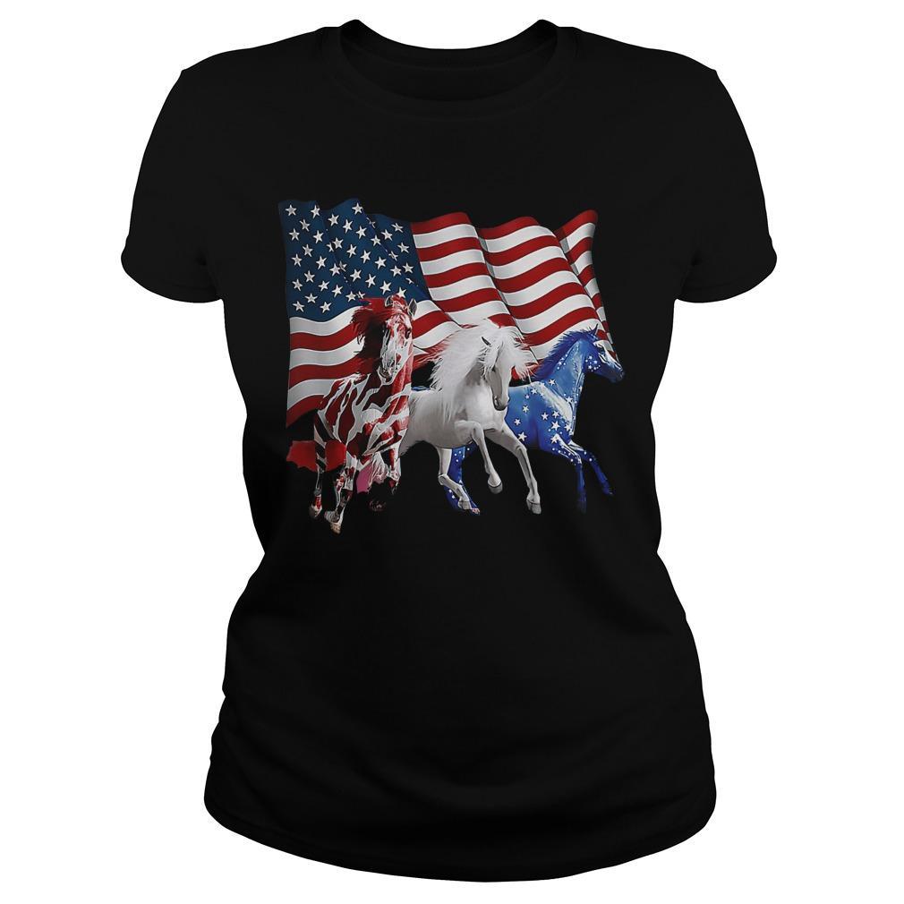 American Flag Horses Longsleeve