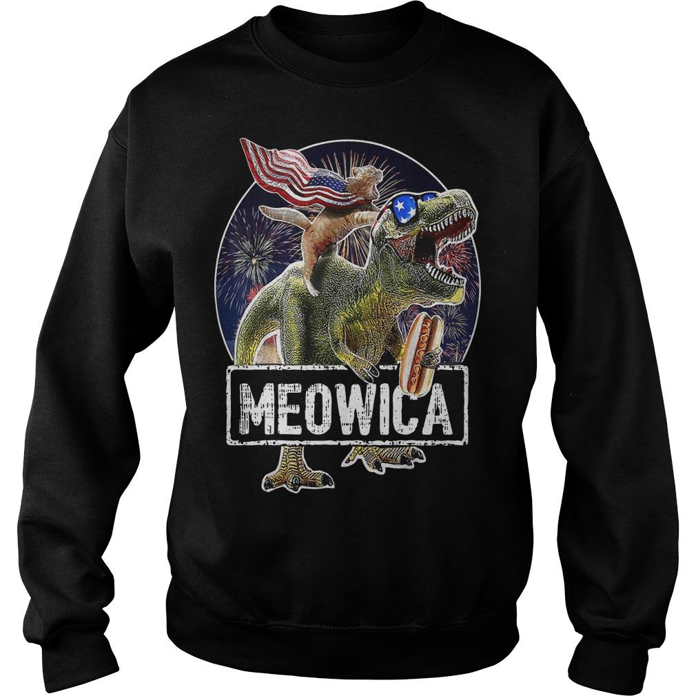 Cat T Rex Dinosaur 4th Of July Meowica Sweater