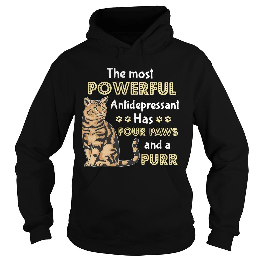 Cat The Most Powerful Antidepressant Has Four Paws And A Purr Hoodie